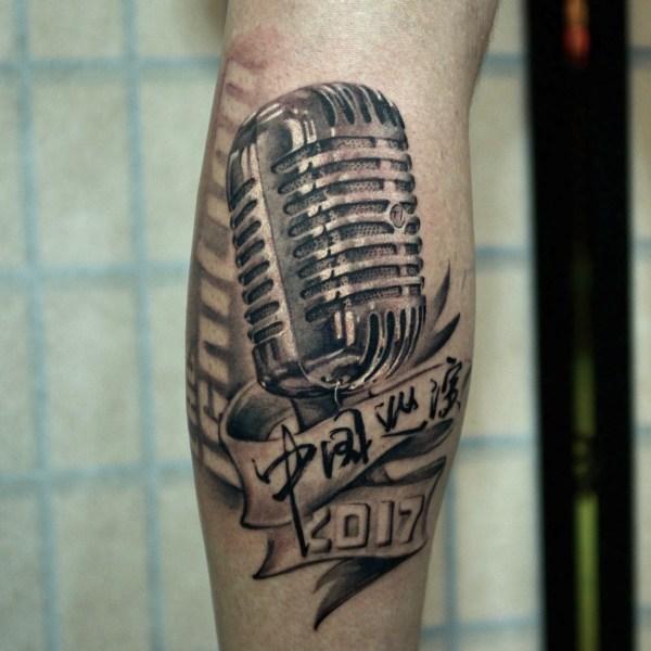 Zhuo-Dan-Ting-Tattoo-work-卓丹婷纹身作品-麦克风纹身