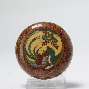 Lovely 19c Antique Meiji Period Japanese Lidded Box Bronze Cloisonne