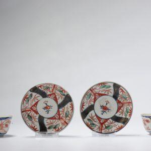Pair 18C Japanese Porcelain Flower Tea Cup Bowl & Saucer Saucer Imari Edo Period