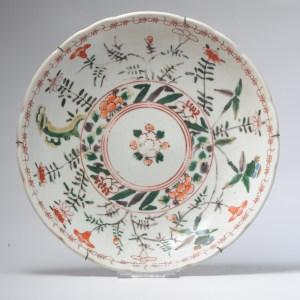 Antique Japanese Edo Period Verte Porcelain Arita Plate 18th c Japan