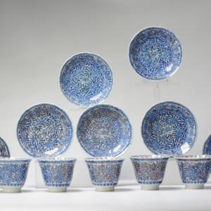 Antique 19th Japanese Kangxi revival Set Chinese Porcelain Tea Cups Japan