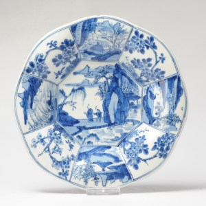 Antique ca 1700 Kangxi B/W Moulded Porcelain Dish Landscape Chinese Qing Marked