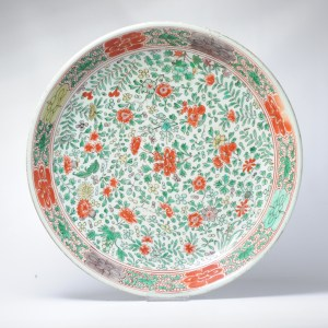 Antique 39CM Kangxi Chinese Porcelain Charger Verte Wucai Flowers Channel