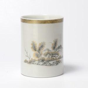 Antique 18C Chinese Porcelain Tankard Mug China Encre de Chine Grisaille