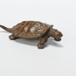 Antique Mini Okimono Bronze Japanese Statue of a Turtle Meiji Japan Marked