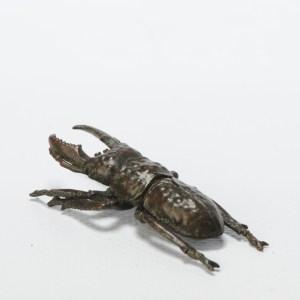 Antique Mini Okimono Bronze Japanese Statue of a Stag Beetle Meiji Japan Marked
