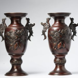Antique Bronze Meiji Vases with Fenghuang and two Quails 19th c Japan, Japanese