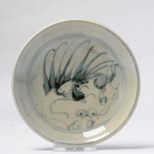 Antique 19th C Chinese Porcelain Fenghuang Fujian or Dehua China Plate