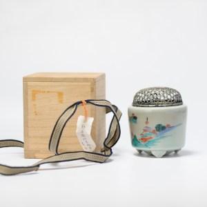 Antique Beautiful Japanese Arita Celadon Koro Incense Burner Kakiemon Style Silver Lid