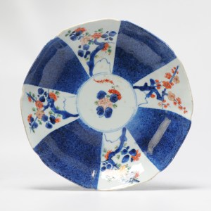 Lovely ca 1700 Kangxi Plate Imari Compartment Dish Trees Chinese Porcelain