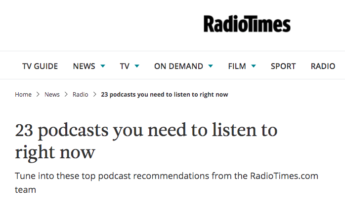 The Radio Times recommends 'Influence Me' as one of it's top podcasts!