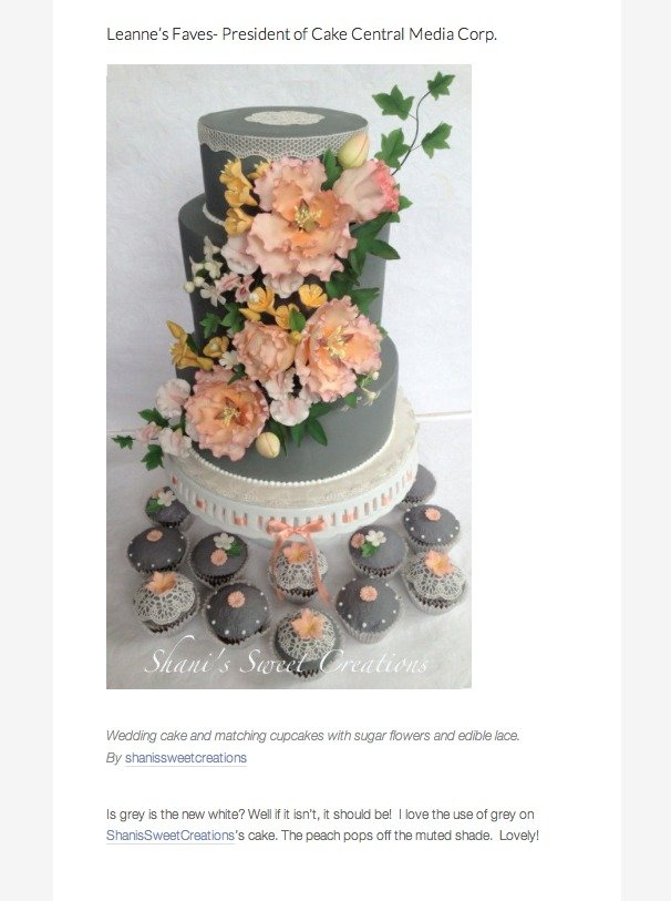 grey and peach wedding cake - publications