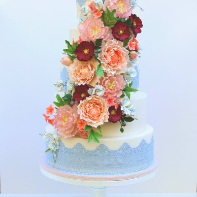 Cascading Sugar flower and lace wedding cake