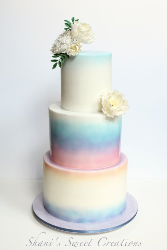 Watercolor sunset wedding cake