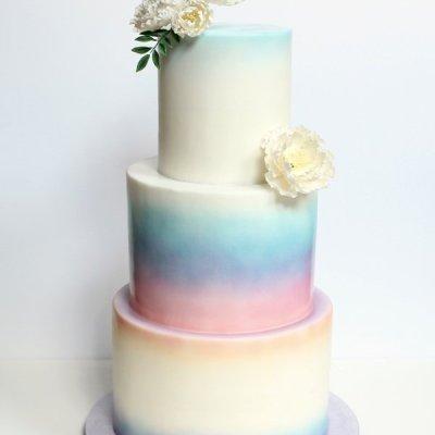 Watercolor sunset wedding cake
