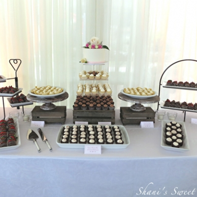 Rustic elegant wedding dessert table display