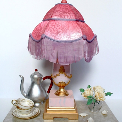 Pink Victorian lamp cake with fringe