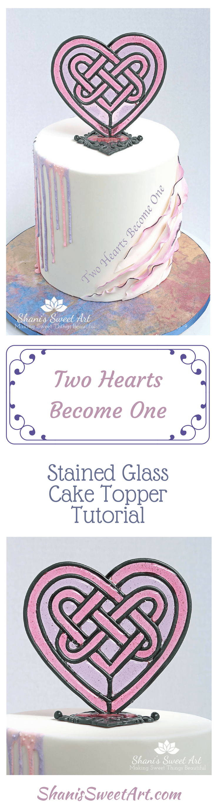 Learn how to create this exquisite Celtic heart stained glass cake topper in this step by step video tutorial.