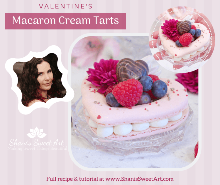 Heart shaped Valentines macaron cream tarts recipe & tutorial