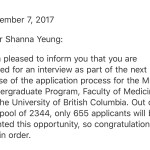 UBC Medical School Interview Invite