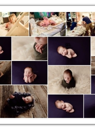 birth and newborn boy session; olive and navy colors