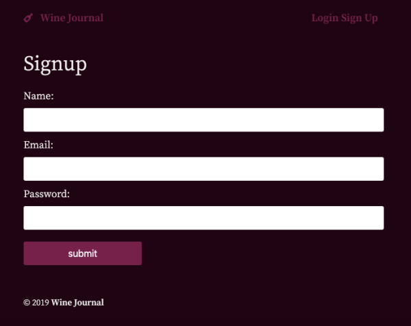 Wine Journal Signup Form