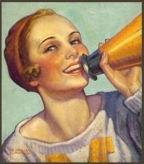 painting of cheerleader with megaphone