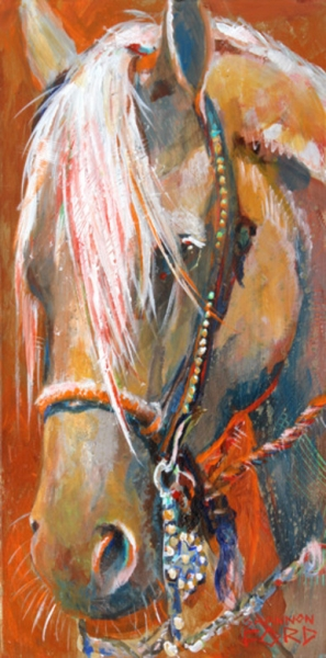 Tacked Up 24 X 12 available through Gainsborough Galleries, Calgary, Alberta