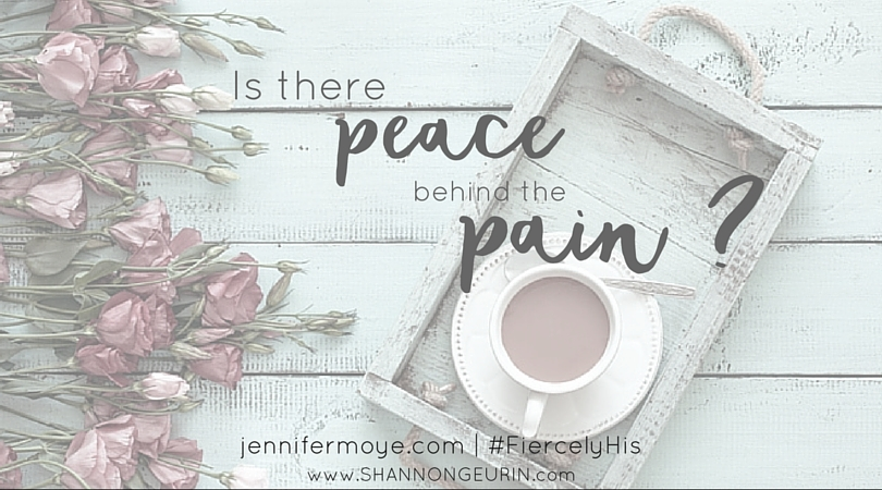 Is there peace behind pain? Over 100 million Americans suffer from chronic pain. My Savior is no stranger to the pain I feel. Did He lay down and give in? No! He stood strong and pressed on in His Father's will for Him. I began to see . . . I should too.