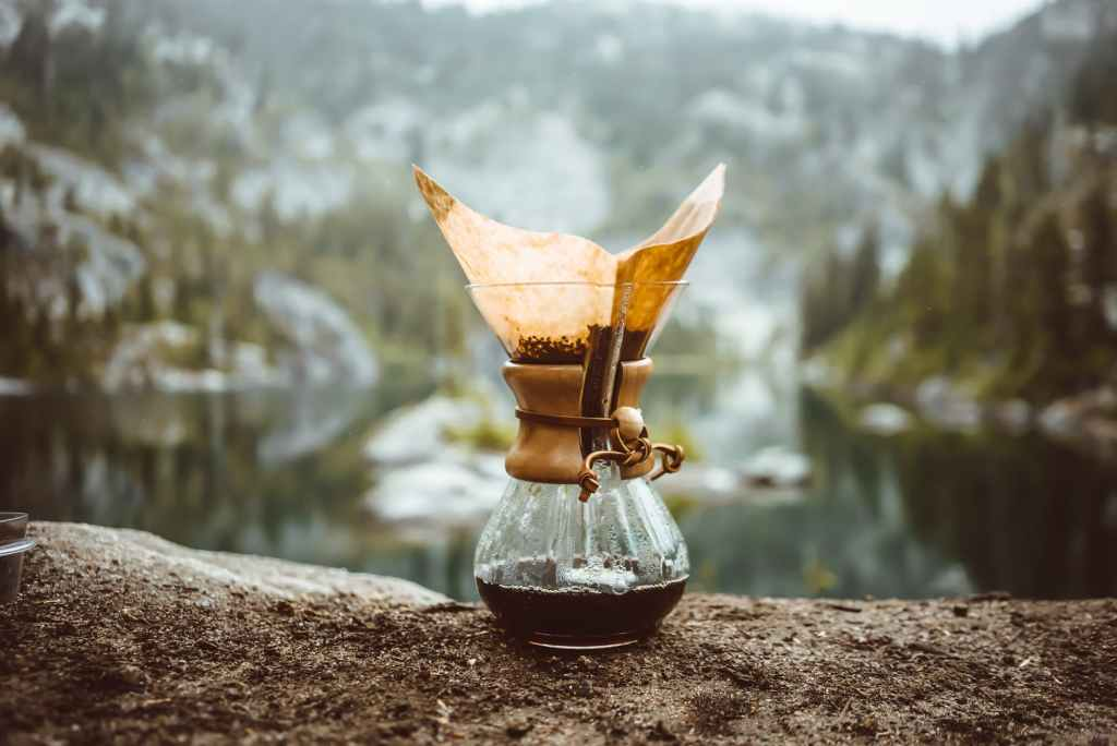 chemex pot on rock in mountains