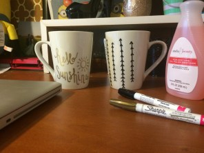 Materials needed: mugs and oil based sharpies.