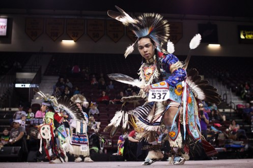 Dancer #537 competes at the 25th Annual Celebrating Life Pow Wow in McGuirk Arena Sunday, March 23, 2014.