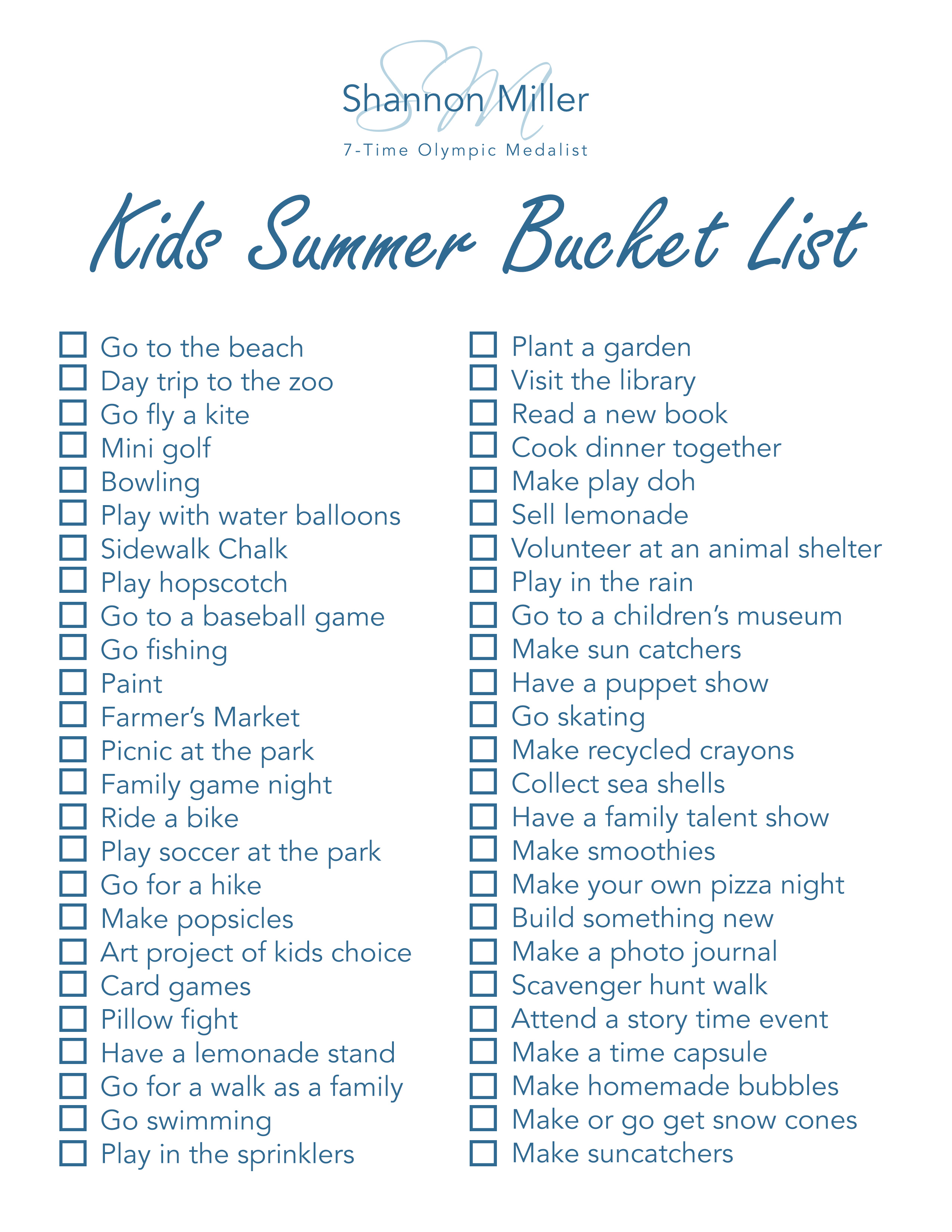 Kids Summer Bucket List