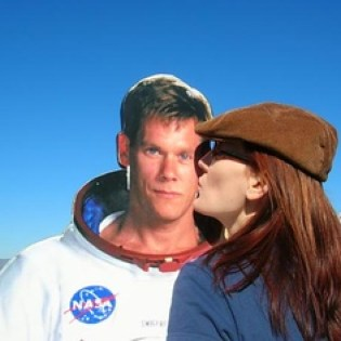 Kissing cut-out of Kevin Bacon