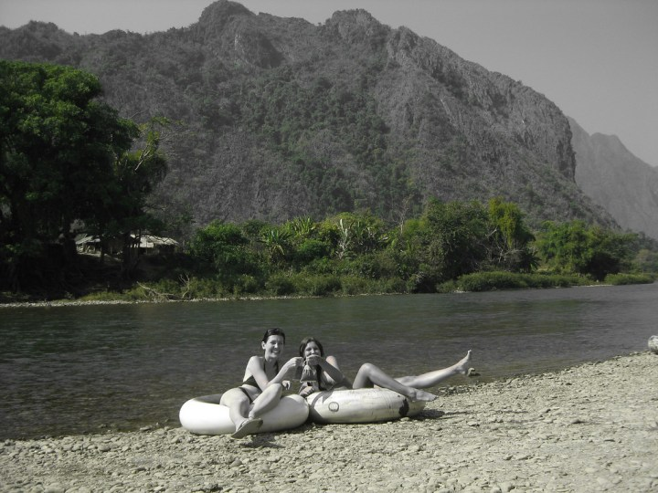 tubing the Nam Song River, Laos
