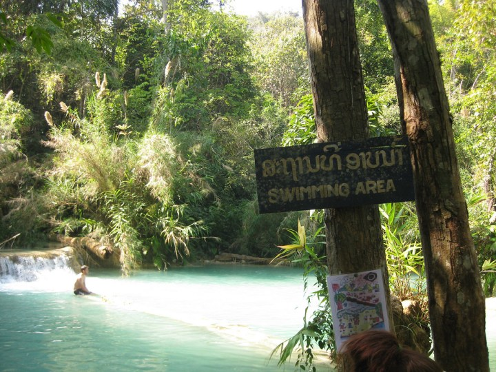 Swimming area of Kuang Si Waterfalls