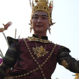 Thai man in the festival parade at the Chiang Mai Flower Festival, Thailand