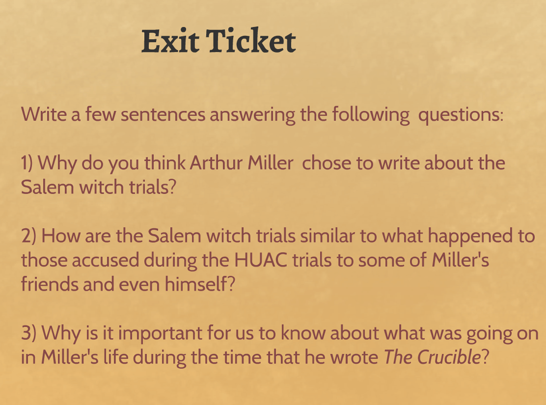 Why I Wrote The Crucible Worksheet Answers