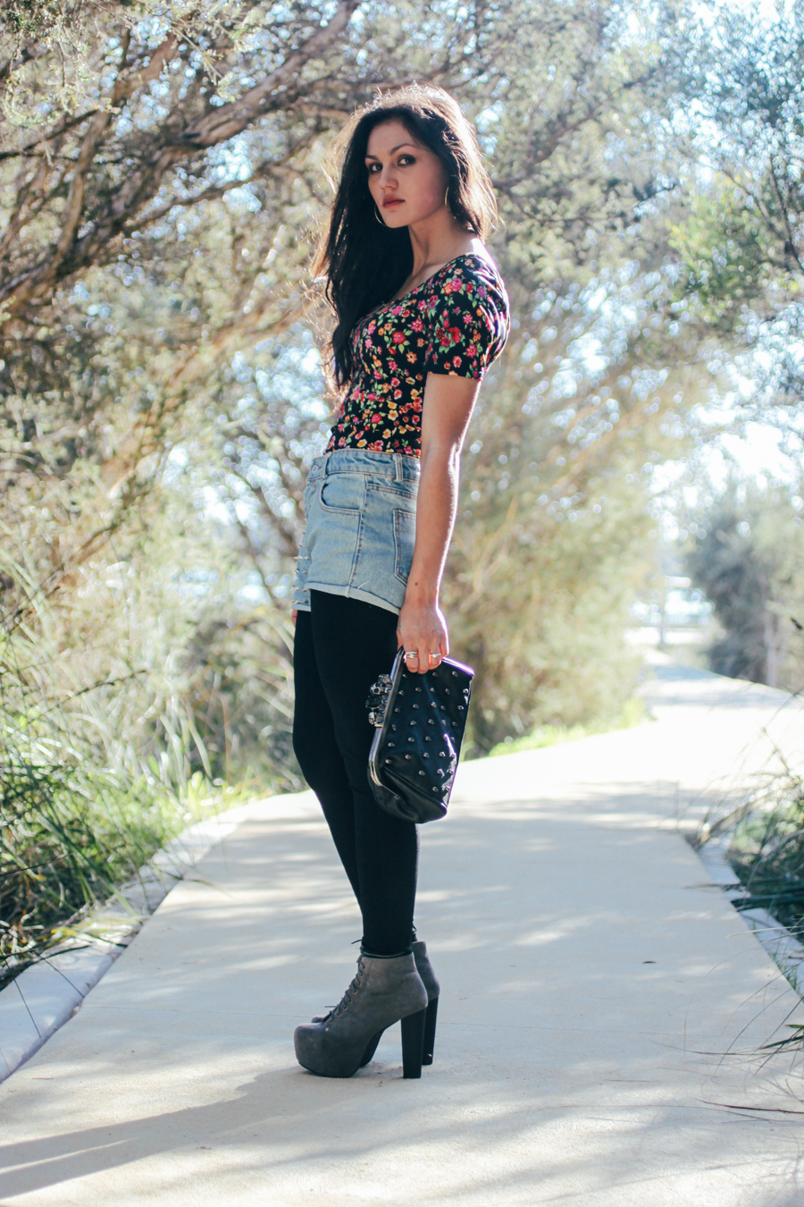 Perth fashion blog. Jeffrey Campbell Lita boots, floral top, studded denim shorts, knuckle duster clutch.