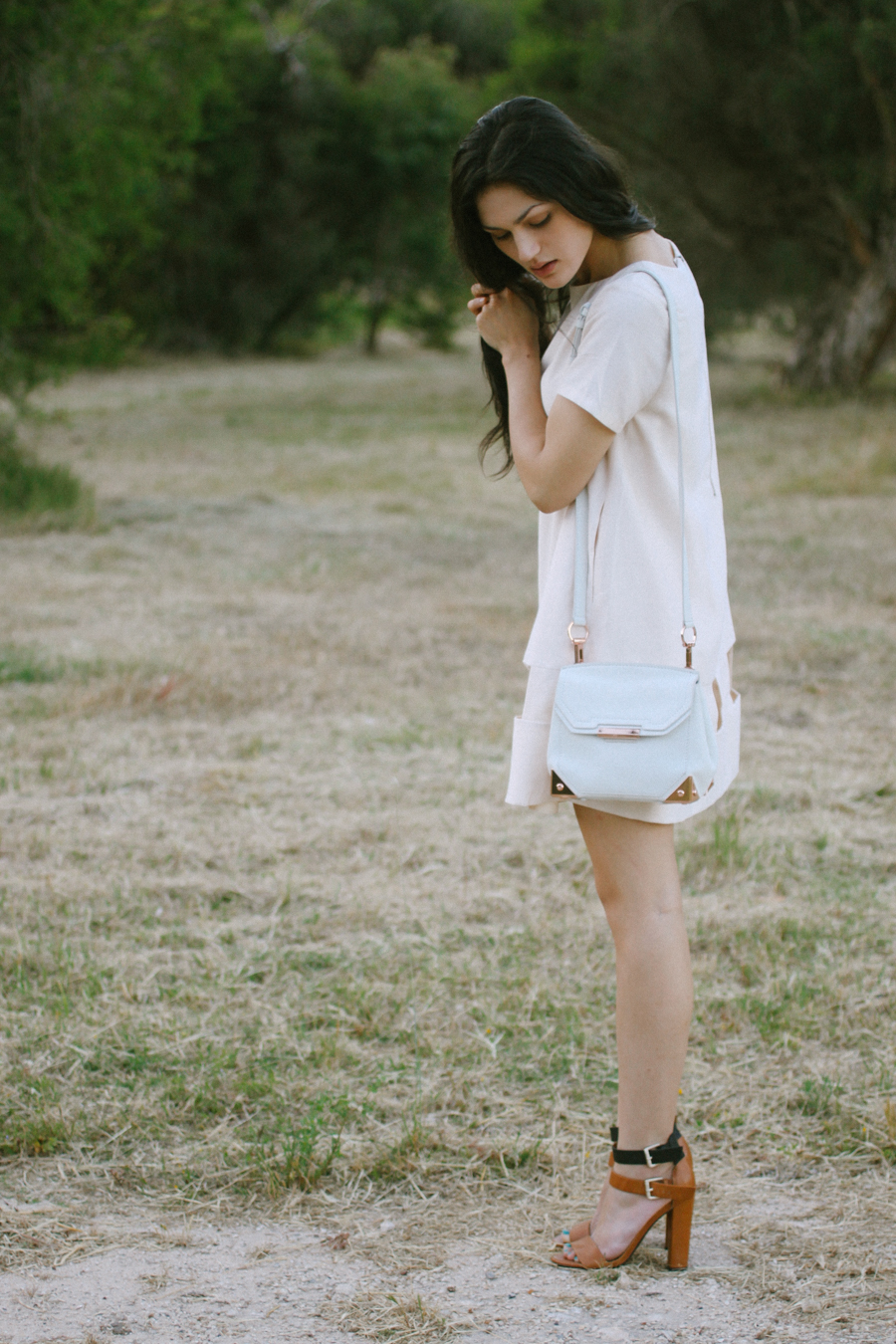 TV Eyes dress, Cameo the Label. Alexander Wang Marion bag in eggshell white.