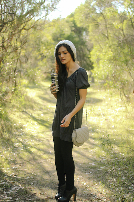 Grey tunic with beret & black ankle boots.