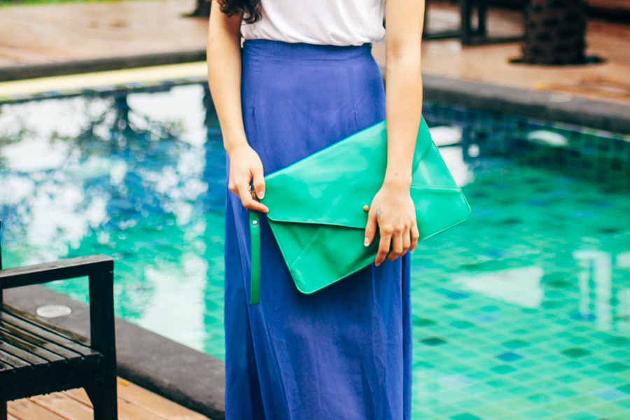 Aqua turquoise envelope clutch & blue maxi skirt outfit.