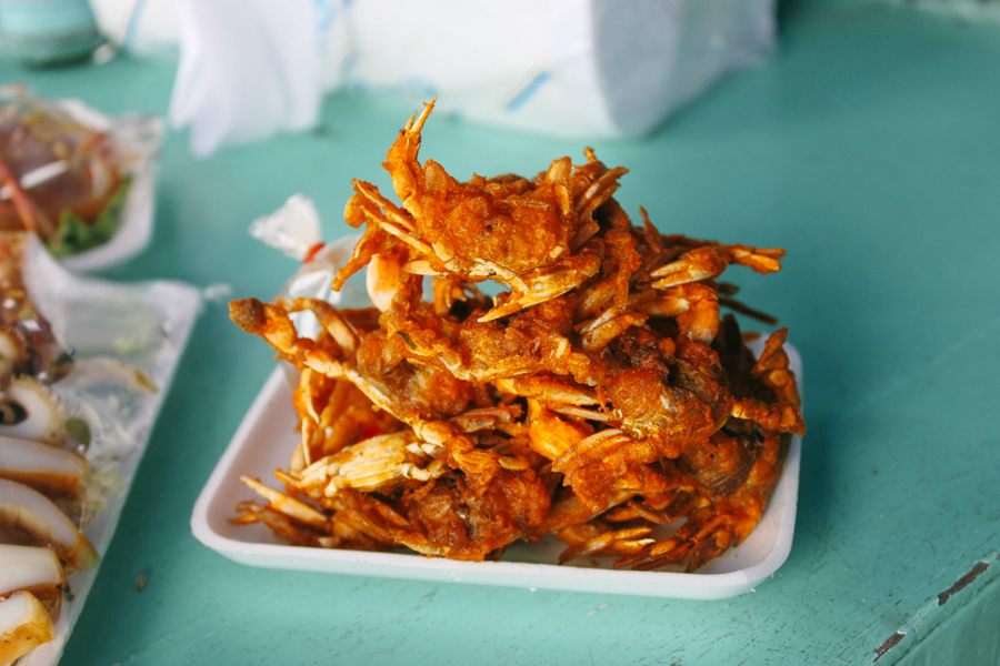 Tiny fried crabs in Thailand.