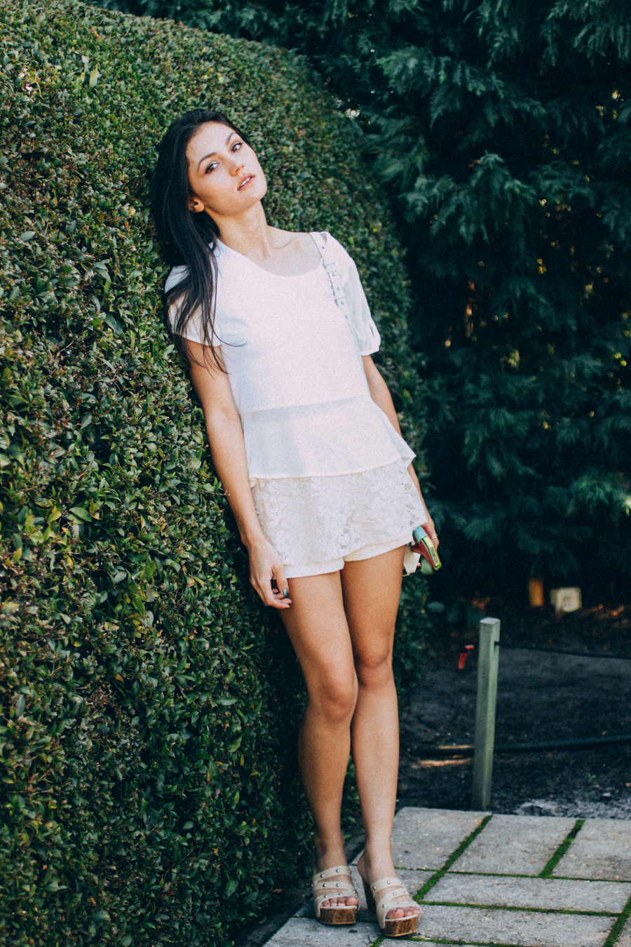 All white outfit. White peplum tee & lace skort.