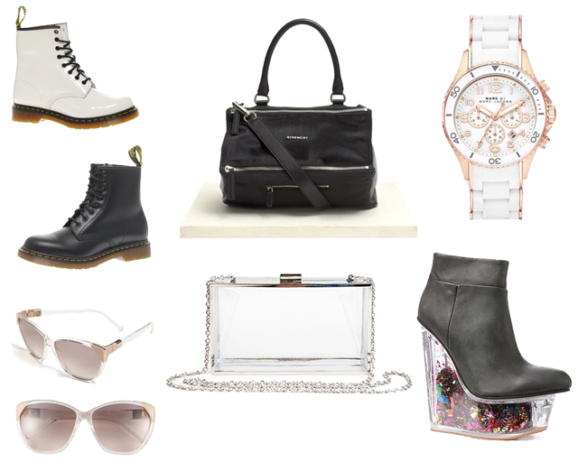 Givenchy Pandora bag, wishlist, doc Marten boots, perspex clutch