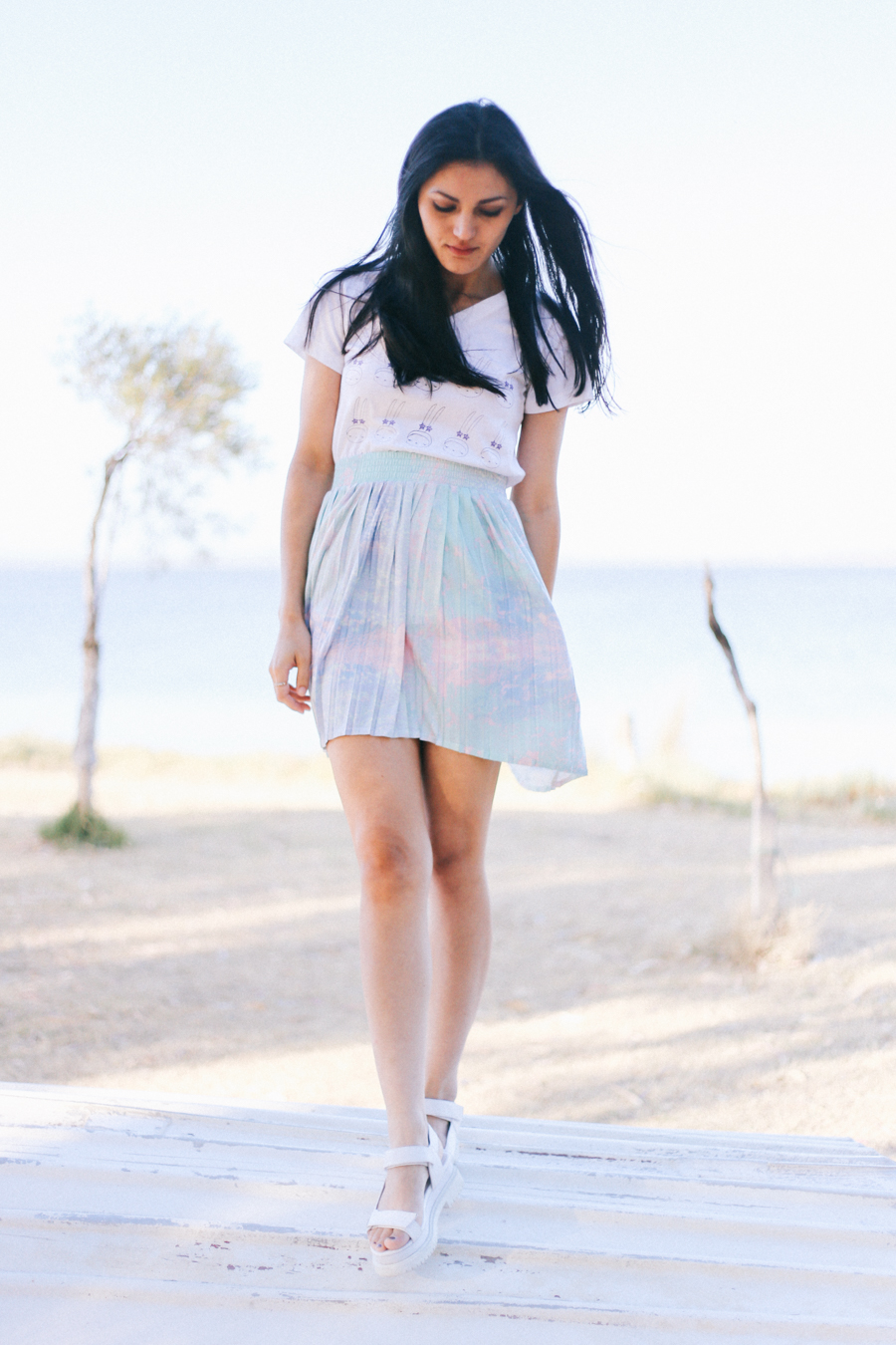 Pastel skirt from Chicwish. Fifi Lapin top.