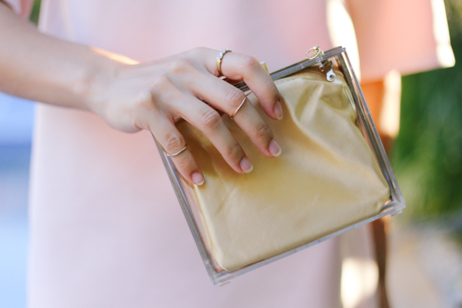 Niclaire clear clutch, knuckle rings.
