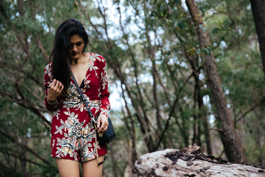 Motel Rocks Blur Flower playsuit romper.