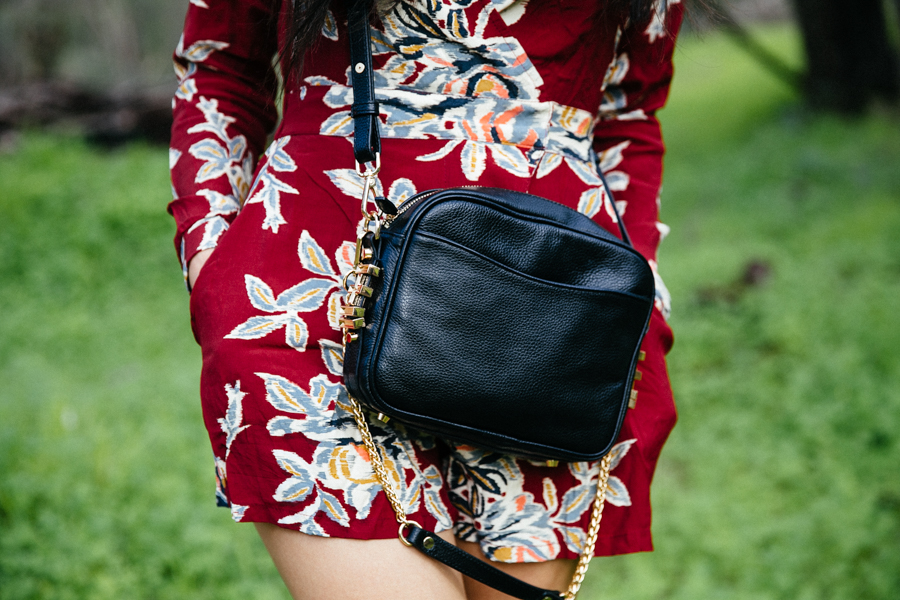 Motel Rocks Blur Flower playsuit romper. Dylan Kain Rodriguez bag.