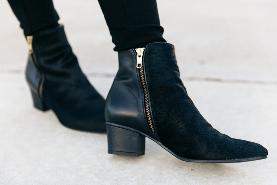 The Mode Collective double zip pony hair ankle boots.